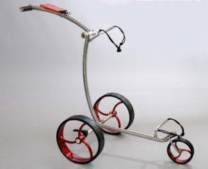 RT–210acier 3rad Push Chariot en argent–Roues Rouge