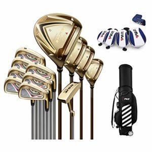 CNKSKXK-goif Golf Club Golf Set Ultra Light Rod, No.1 Bois + Bois de Parcours No. 3 + Fairway No. 5 + Ironwood Rod 3H + Barre de Fer + Putter + Sac de Golf,goldsteelbody,S