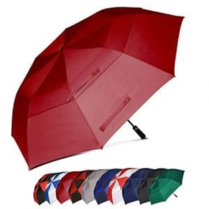 Eono Essentials – Parapluie de golf portable à double voilure et ouverture automatique, protection contre le vent, grand format, 157,5 cm, Bordeaux