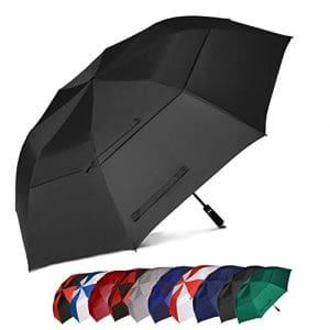 Eono Essentials – Parapluie de golf portable à double voilure et ouverture automatique, protection contre le vent, grand format, 157,5 cm, Noir
