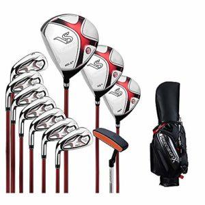 Linqly Ensemble de Club de Golf pour Hommes, Ensemble de 11 avec Noir et Rouge PU Boule Sac, 3 Bois + 7 fers + 1 Putter + 1 Sac à balles, Golf Club débutant