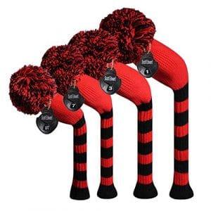 Meili monts foncé Couleur Knit de golf Couvre-fer Lot de 4pilote pour bois, bois de parcours * 2et hybride, Long cou, Big Pom Pom, style discret, Red Black Big Stripes