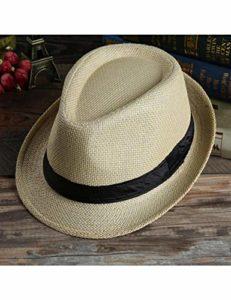 PDHP Chapeau Bonnet De Plage en Paille Panama