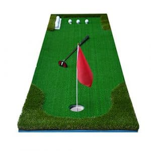 Tapis de Putting Golf Mini Tapis de Golf Artificiel Vert d'entraînement intérieur/extérieur de Golf Putting Green/Tapis de Golf-Tapis Comprend des Accessoires de Drapeau Vert