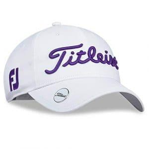 TITLEIST Chapeaux du Golf pour Femme (Tour Visor, Tour Performance Cap) (Women's Tour Performance Ball Marker, White/Purple)