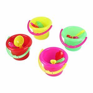 Fannty 4pcs Mini Plage Jouets Set Seau Pelle rake Plage Sable Jouer Jouets pour Enfants