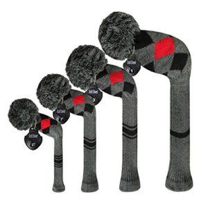 Meili monts foncé Couleur Knit de golf Couvre-fer Lot de 4pilote pour bois, bois de parcours * 2et hybride, Long cou, Big Pom Pom, style discret, Grey Red Black Argyles