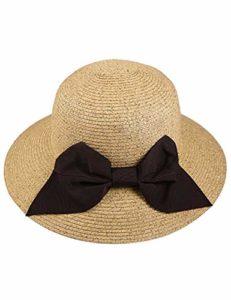 PDHP Chapeau Chapeau De Paille Sunhat Large Bord Pliable pour Femmes À La Main Bowknot Beach Summer Sun Caps Crochet Chapeau De Paille Portable Sun Hat