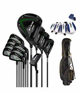 Ensemble de bâtons de Golf Complet pour Hommes, Manche en Acier, Manche en Graphite 3, 5 fairways, 24, 27 Hybrides, S.S. Fers 7-SW, Putter, Cart Bag,Noir,S