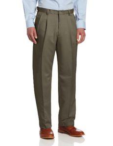 Haggar Men's Big-Tall Cool 18 Gabardine Hidden Expandable Waist Pleat Front Pant, Taupe, 48×30