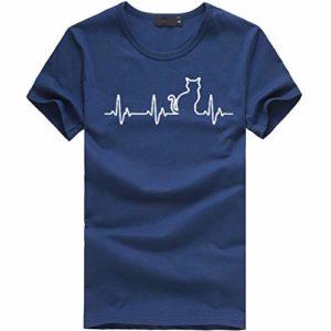 Tosonse Femme Blouse Top T-Shirt Été Basique Cou Rond Imprimé Shirt Haut Lovers Chemise Manche Courte Tee