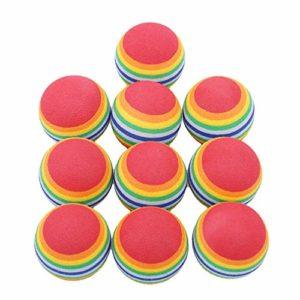Vektenxi Lot de 10 balles de golf en mousse Couleurs arc-en-ciel Pour entraînement intérieur/extérieur Durable et utile