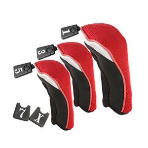 3 pcs Couvre-bois pour Club de Golf Driver Bois 1 3 5 (Rouge et Noir)