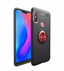 Coque pour Xiaomi Mi Play Housses étuis 2 en 1 Antidérapant TPU Silicone Protecteur Souple Ultra-mince Étui Arrière en PC Coque avec Magnétique Métal Anneau Boucle -Noir et Boucle Rouge