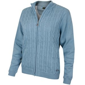 Island Green – IGLK GT1756 – Pull Zippé – Femme – Bleu (bleu canard) – Taille: XL (UK: 16)
