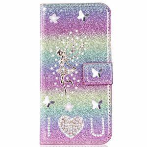 Miagon pour Samsung Galaxy A20 Portefeuille Coque,3D Glitter PU étui en Cuir Diamant Fermoir Magnétique Stand Strass Housse,Ange Arc-en-ciel 1