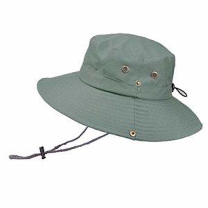 ONGGONGCHE Visière extérieure Chapeau d'alpinisme Grand Chapeau Respirant Chapeau de Protection Solaire Chapeau de Protection UV de pêcheur Chapeau Vert Gris Taille Unique