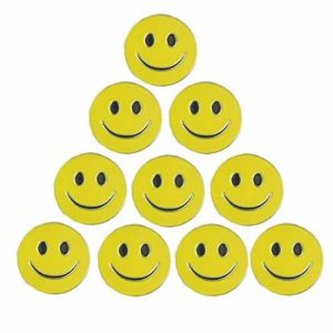 Pinmei Lot de 10marqueurs de balles de golf, différents motifs, Smiley face ball marker, 24.4mm