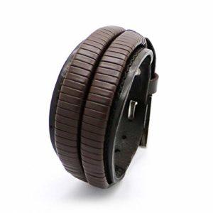 Bracelet Homme Bracelets,Brassard Double Bracelet Large Bracelet De Cuir Et Corde Brown Male Fashion Bracelet pour Hommes