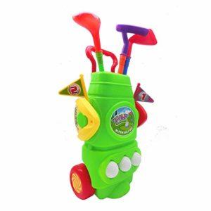 Jeu de balle de golf Kids Golf Club Set – Voiturette de golf avec roues, 3 bâtons de golf colorés, 3 balles et 2 trous d'entraînement – Ensemble de jouets de sport pour jeune golfeur amusant pour garç