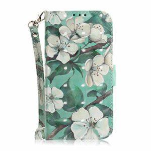 LARPOTE Coque pour Huawei Honor 20,Coque de Maintien Housse Portefeuille en Cuir Véritable, avec Rangements Cartes Fermeture Magnétique -Aquarelle Fleur.