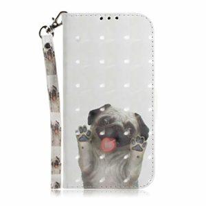 LARPOTE Coque pour Huawei Honor 20,Coque de Maintien Housse Portefeuille en Cuir Véritable, avec Rangements Cartes Fermeture Magnétique -Pago Dog.