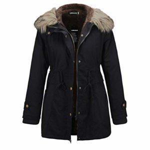LIPING2H Manteaux d'hiver Chauds à Capuche pour Femmes avec Veste épaisse doublée de Fausse Fourrure (L,Black)