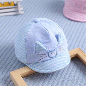 QQYZ Capuchon De Chapeau De Chéri 0-6 Mois Bébé 3 Bébé Nouveau-né Bébé De Coton Mignon Printemps Et Automne Code Moyen – Bleu