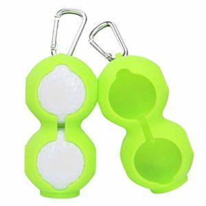 Reuvv 2Pcs Silicone Golf Balle Protection Housse Souple Taille Support Manche Rangement Sac avec Mousqueton Support Porte-Clés Golf Accessoires pour 2 Balles – Vert