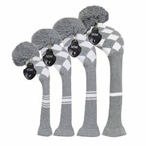 Meili monts foncé Couleur Knit de golf Couvre-fer Lot de 4pilote pour bois, bois de parcours * 2et hybride, Long cou, Big Pom Pom, style discret, Grey White Argyles