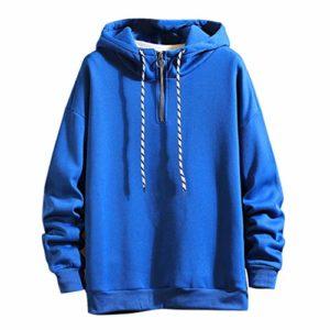 Sunnywill Sweat-Shirt pour Hommes Couleur Unie Pull DéContracté à Capuche Tops Sweat à Manches Longues en Vrac Pull Chaud Manteau Sweat Tops