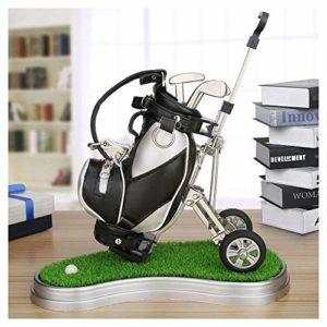 Cadeau de Golf Mini Chariot +Mini Court+3pcs Stylos,Porte Stylo Bureau Accessoire Golf Sacs Club Putter kit Pliable Amovible En d'anniversaire/ Noel /Spécial Cadeau pour Papa/ Grand-père/Ami/ Golfeur