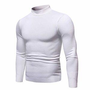Cebbay Homme Chandail Automne Hiver Couleur Unie Col Roulé À Manches Longues Mince Muscle Shirt Casual Shirt Blouse Basic Pullover Top Liquidation(Blanc,L)