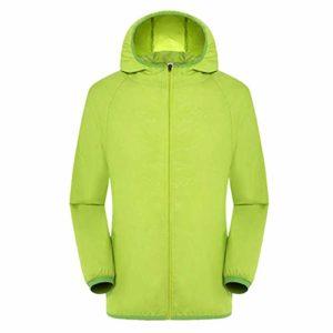 Fishyu Ultra Légère, Regensichere Windbreaker-Jacke Respirant Imperméable Coupe-Vent pour Femmes Hommes – Vert, Medium