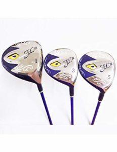 LJPHLL Ensemble De Golf en Bois pour Femmes Golf Driver + Fairway Clubs en Bois avec Manche en Graphite pour Golf L Flex Et Cover,Une