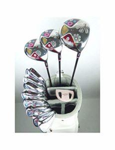LJPHLL Femmes Clubs De Golf Golf Ensemble Complet De Clubs Pilote + Bois De Parcours + Fers + Fers Manche De Golf Graphite,L Flex