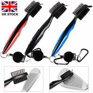 Lot de 2 brosses de nettoyage pour rainures de club de golf, résistantes, 0,6 m, rétractables, légères en fer/bois, crampons de nettoyage en aluminium, couleur bleu, noir, rouge, bleu, 1 pièce