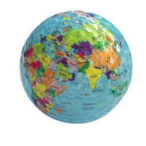 pushfocourag Globe Carte d'impression de Balle de Golf en Caoutchouc Intérieur ou extérieur débutant Practise Outil d'entraînement de Golf Practise Boule Motif Globe de Golf
