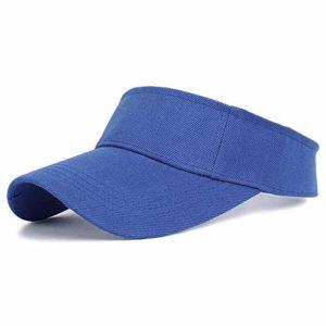 Sunhat 2019 New Women Sunscreen Visor Hat Chapeau de Course en Plein air d'été réglable Solide Baseball Topless Tennis Sun Visor Cap, Bleu, réglable