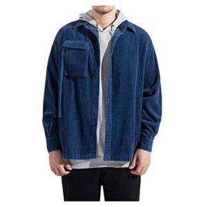 Sunnywill Homme Blouson Velours côtelé Léger Couleur uni Casual Affaires Manches Longues Slim Fit Jacket Veste