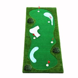 Tapis de Golf Golf Putt Practice Épaississement Non-Slip Golf Artificiel Vert Putter Golf Système Vert Mini Ball Practice Simulation Bunker Ondulation Flaque en Acier Inoxydable Vert intérieur