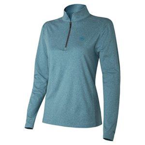 Wilson Golf Femme Haut à Longues Manches Performance, THERMAL TECH, Polyester/Spandex, Bleu (Heather Blue), Taille: M, WGA700314