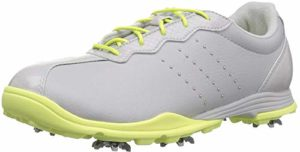 adidas Women's W Adipure DC Golf Shoe, Grey one/Silver met./semi Frozen Yellow, 8.5 Medium US