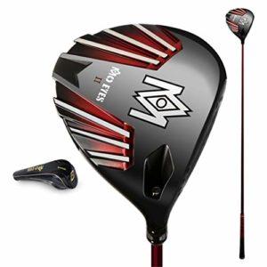 HJJGRASS PGM Club de Golf, Titane Ultra Léger Haute Elasticité Gore 1 Bois Noir/Or Coup De Pied Bois Réglable Angle 43G Lumière d'arbre,Noir,S_Level