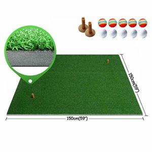 LYZ Practice De Golf Frapper Mat, Mettre La Formation Tapis Intérieur Putting Green Rubber T Holder Backyard Golf Mat (Couleur : B, Taille : 1mx1m(39x39in))