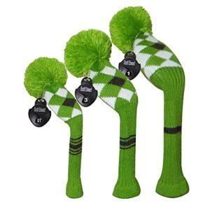 Meili monts foncé Couleur Knit de golf Couvre-fer Lot de 3pour driver, bois de parcours et hybride, Long cou, Big Pom Pom, Homme, Green Grey White Argyles