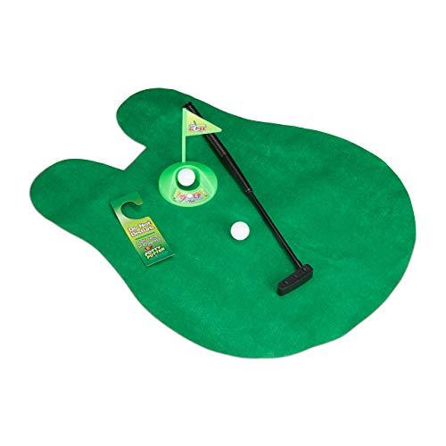Relaxdays Golf Toilette Set, Golf WC, Set de golf toilette, Jeux mini golf toilettes, 6 pièces, 2 balles, vert