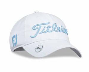 TITLEIST Chapeaux du Golf pour Femme (Tour Visor, Tour Performance Cap) (Women's Tour Performance Ball Marker, White/Caribbean)