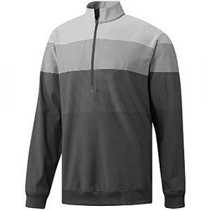 adidas Golf Pull léger à Rayures 1/4 zippé pour Homme, Homme, Carbone/Gris Three F, Large