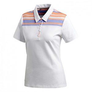 adidas Ultimate 365Stripe Merch Short Sleeve Polo de Golf, Femme XS Blanc
